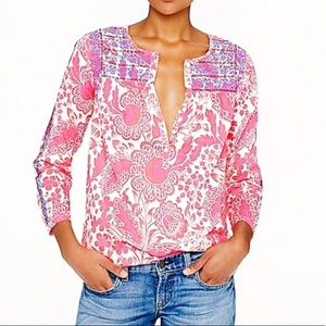 J. CREW Pink Floral Embroidered Top Blouse